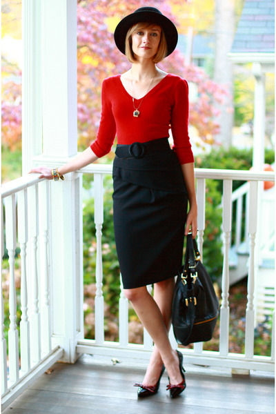 ruby red Bebe sweater - black Reiss skirt - black Boyy - black H&M hat - black P