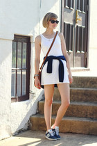 navy crew neck Reiss sweater - white tank mini dress Petit Bateau dress