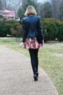 Black-studded-leather-surface-to-air-jacket-black-velvet-tassle-vintage-bag