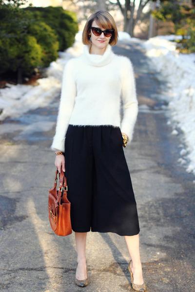 ivory cowl neck Illig sweater - burnt orange tote Bally bag