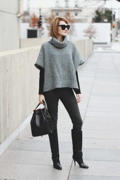 heather gray poncho Woolovers sweater - black knee-high boots karen millen boots