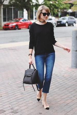 black lace-up Express sweater - blue cropped Topshop jeans