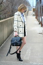 Black-ankle-boots-balenciaga-boots-white-plaid-vintage-coat