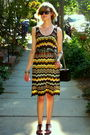 Yellow-m-missoni-dress-black-theory-shoes-gold-hermes-bracelet-black-chane