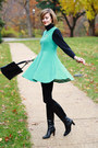 Black-ferragamo-boots-aquamarine-flared-skirt-romwe-dress