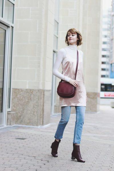crimson ankle boots Topshop boots - light pink slip dress Genuine People dress