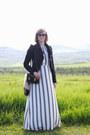 White-maxi-dress-loft-dress-black-leather-romwe-jacket