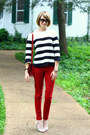 White-striped-jigsaw-sweater-red-skinny-zara-jeans