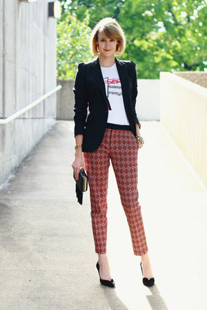 ruby red printed Zara pants - black fitted Zara blazer