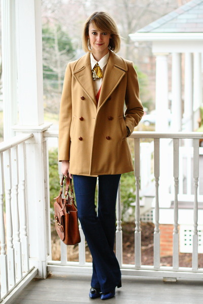 mustard lady tie Ginger Root Design tie - camel Brooks Brothers coat