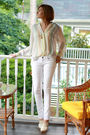 White-vintage-top-white-mango-jeans-white-topshop-shoes-gold-vintage-neckl