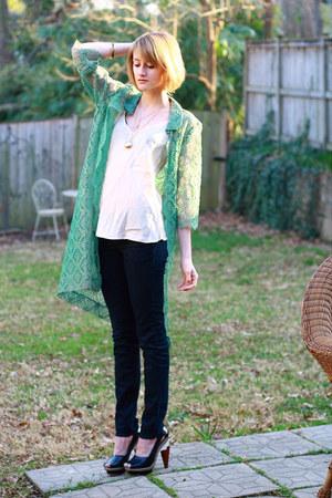 chartreuse lace vintage jacket - navy skinny H&M jeans - ivory slip vintage top