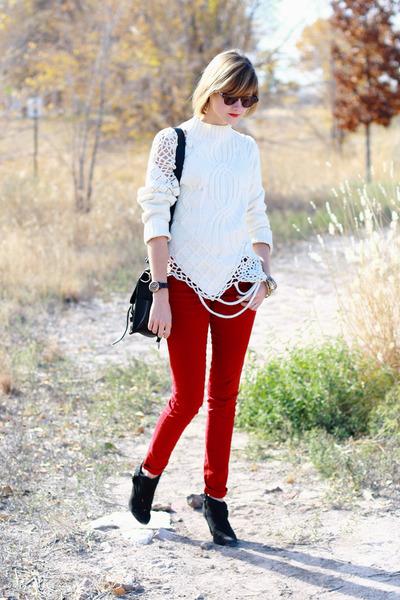 ruby red skinny Zara jeans - black suede Zara boots