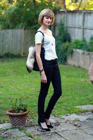 black studded bag KMRii bag - black snakeskin H&M jeans