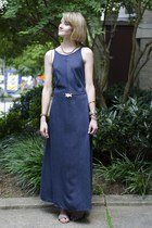 navy maxi dress vintage dress - ivory skinny vintage belt