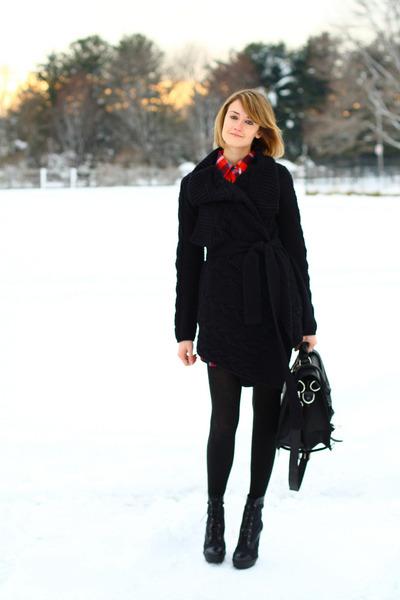 black lace-up boots Pour La Victoire boots - red plaid Forever 21 dress - black