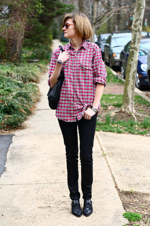 red mens shirt - black H&M jeans - black vintage shoes - brown vintage sunglasse