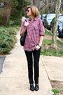Red-mens-shirt-black-h-m-jeans-black-vintage-shoes-brown-vintage-sunglasse