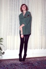 Green-vintage-top-black-h-m-t-shirt-black-h-m-tights-black-balenciaga-boot