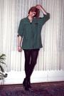 Green-vintage-top-black-h-m-t-shirt-black-h-m-tights-silver-balenciaga-boo