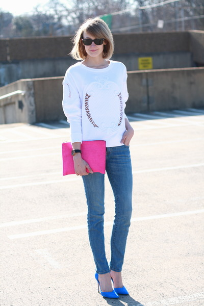 pumps Zara heels - skinny Current Elliott jeans - clutch asos bag