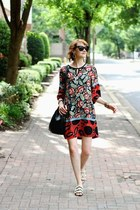 black pearl Zara shoes - black printed Mango dress - black bucket bag Mansur bag