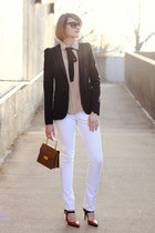 black tie asos scarf - white skinny jeans Mango jeans