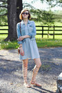 Sky-blue-striped-loft-dress-sky-blue-denim-jacket-levis-jacket
