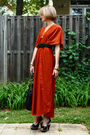 Orange-vintage-dress-black-vintage-belt-black-kmrii-bag-black-finsk-shoes-