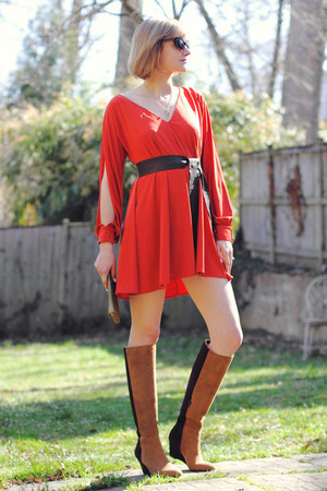 carrot orange swing asos dress - bronze suede Jean Michel Cazabat boots