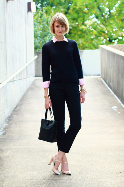 black crewneck Charter Club sweater - light pink button down thrifted shirt