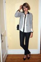 silver sparkly Zara blazer - black snakeskin H&M jeans