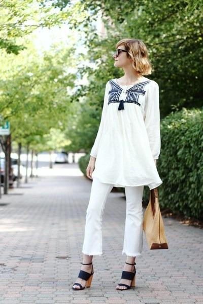 white cropped H&M jeans - black cat eye quay sunglasses