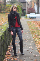 black knee high karen millen boots - black romwe jacket