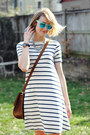 White-t-shirt-striped-asos-dress-brown-shoulder-bag-saddleback-leather-bag
