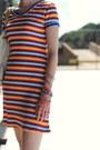 White-oversized-theory-bag-light-orange-striped-thrifted-dress