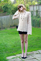 black quilted Chanel bag - neutral bell sleeve vintage sweater