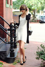 White-fitted-oasis-dress-black-long-cardigan-oasis-sweater