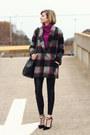 Charcoal-gray-plaid-bel-air-coat-magenta-cowl-neck-vintage-sweater