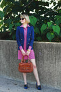Salmon-shirtdress-ellie-kai-dress-navy-fitted-zara-blazer