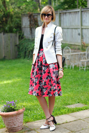hot pink floral print asos skirt - white fitted Zara blazer