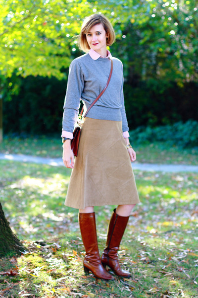 Camel Knees, Length Illig Skirts, Tawny Ferragamo Boots  quot;chestnut