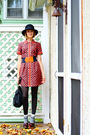 Red-kate-hill-dress-blue-vintage-belt-gray-eloise-tights-red-dr-martens-sh