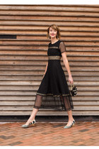 black eyelet Maje dress - white kitten heel Nicholas Kirkwood shoes