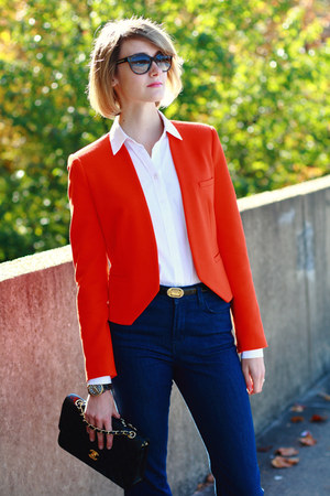 carrot orange bright Zara blazer - navy J Brand jeans - black quilted Chanel bag