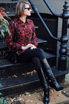 ruby red fire print rachel roy shirt - black knee-high boots karen millen boots