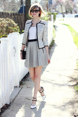 silver boucle ted baker blazer - black clutch Sophie Hulme bag