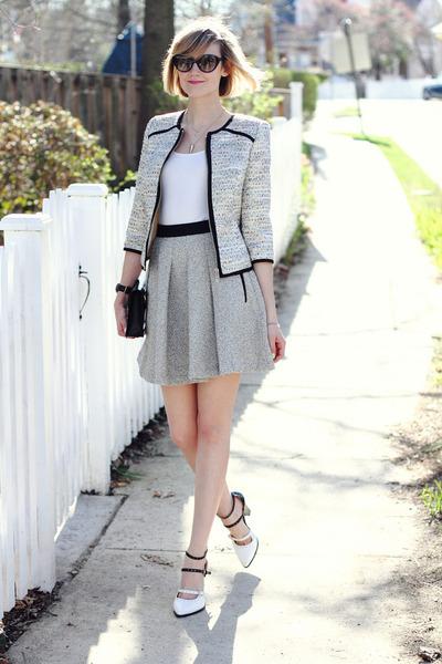 silver boucle ted baker blazer - black clutch Sophie Hulme bag