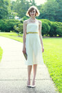 Chartreuse-lace-vintage-coat-white-eyelet-express-dress