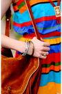 Orange-vintage-dress-gold-vintage-bracelet-brown-miu-miu-shoes-brown-urban